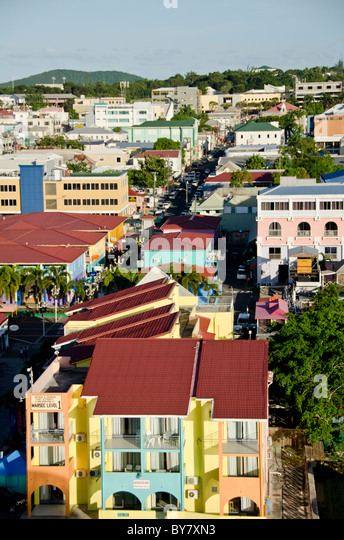 Looking down on shops of Heritage Quay, St Johns Antigua from Caribbean cruise ship - Stock Image