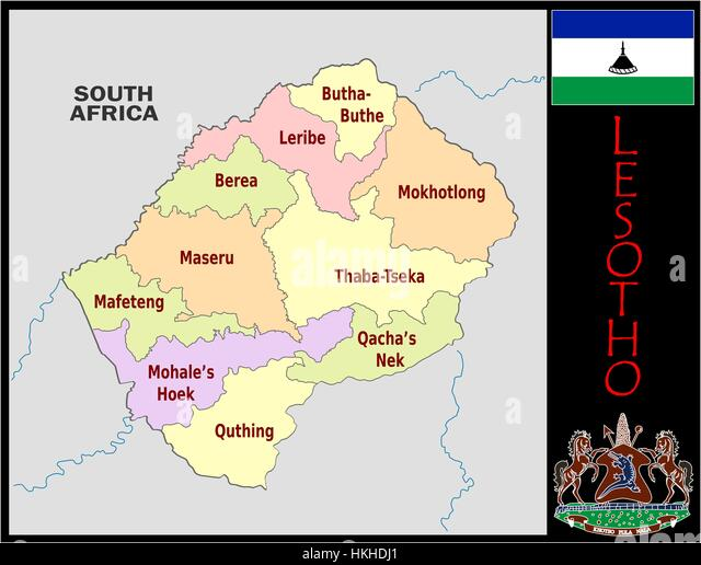 Lesotho administrative divisions - Stock Image