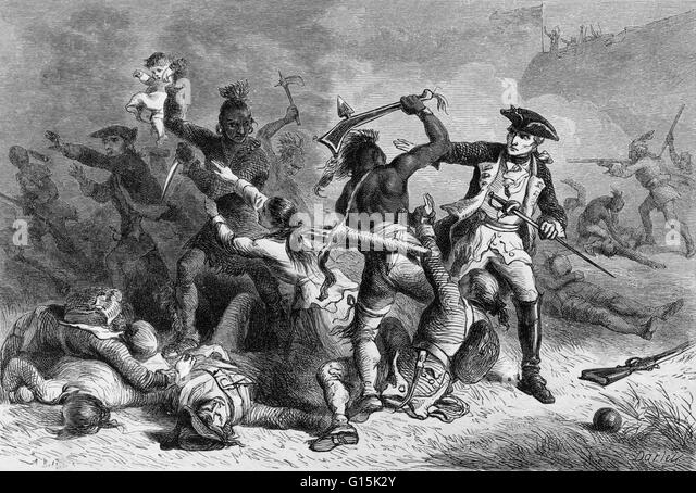 Print depicting the Battle of Fort William Henry, entitled: 'Montcalm trying to stop the massacre.' Montcalm's - Stock Image