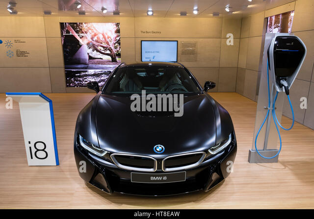 World Premiere of BMW i8 protonic hybrid car at Geneva International Motor Show 2017 - Stock Image