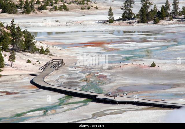 Boardwalk crossing Porcelain Basin, Norris Geyser Basin, Yellowstone National Park - Stock Image