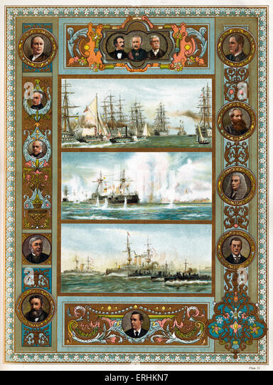 The Navy in the Victorian era - Naval Review at Spithead, 1855 (top), Bombardment of Alexandria, Egyptian War, 1882 - Stock Image