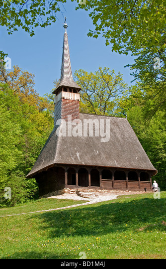 Romania's Museum of Traditional Folk Civilization wooden church from Bezdad Salaj region at Sibiu in Transylvania - Stock Image