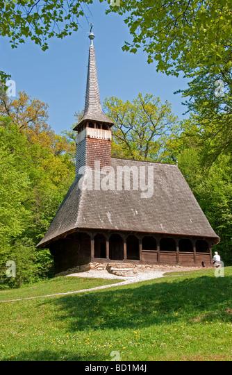Romania's Museum of Traditional Folk Civilization wooden church from Bezdad Salaj region at Sibiu in Transylvania - Stock Image