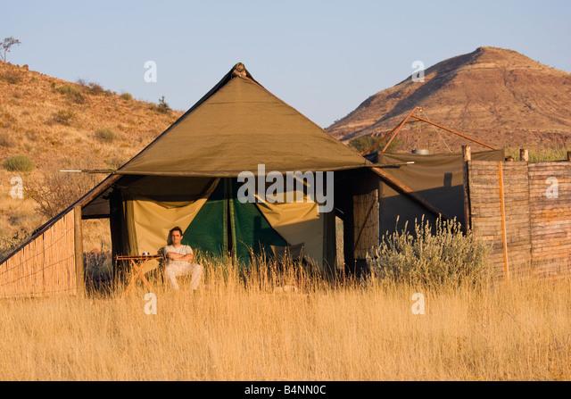 safari damara land Namibia Africa desert tent camp - Stock Image