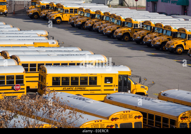 Los Angeles California CA L.A. Los Angeles Unified School District Transportation Services school bus fleet yellow - Stock Image