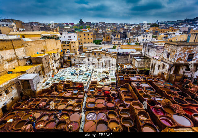 Morocco, Fes, Medina, Tanneries souk - Stock Image
