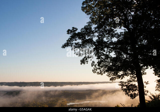 Fog Rising Over Mississippi River at Wyalusing Park - Stock Image