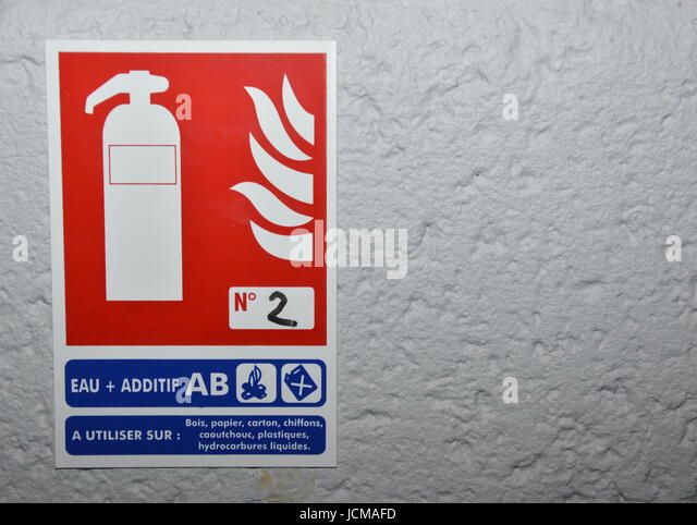 Fire extinguish sign - Stock Image