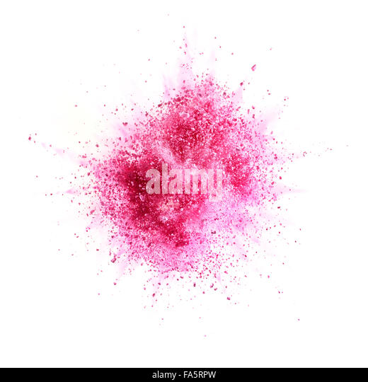 pink powder explosion isolated on white background - Stock Image
