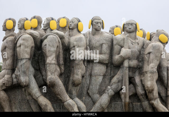 Sao Paulo, Brazil. 26th Apr, 2017. Photo taken on April 26, 2017 shows the statues adorned with auditive protectors - Stock Image