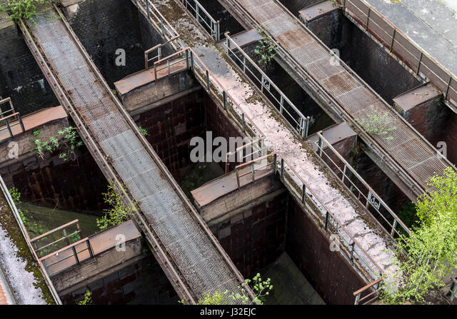 Former steel works in Duisburg, near Dusseldorf, Germany. Today a 'Lanschaftspark'- Landscape park, industrial - Stock Image