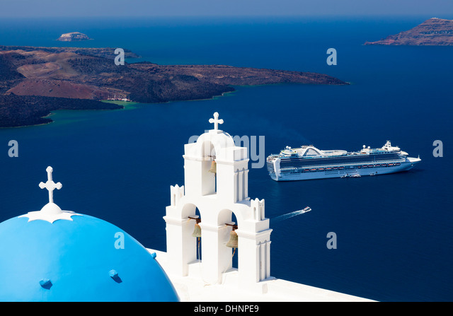 Blue Dome Church at Firostefani near Fira on Thira Island Santorini Greece - Stock Image