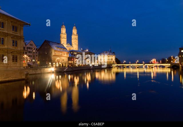 Switzerland, Zurich, Town Hall, Grossmunster at river Limmat - Stock Image