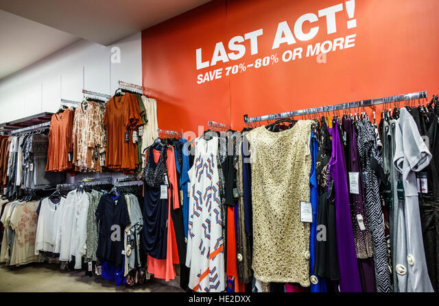 Florida Miami Aventura Mall Macy's department store interior display sale women's clothing Last Act 70% - Stock Image