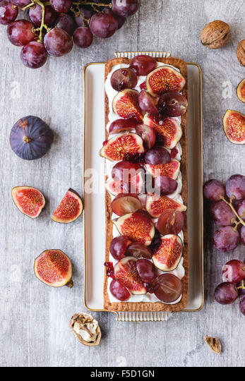 Tart with Grapes and Figs - Stock Image