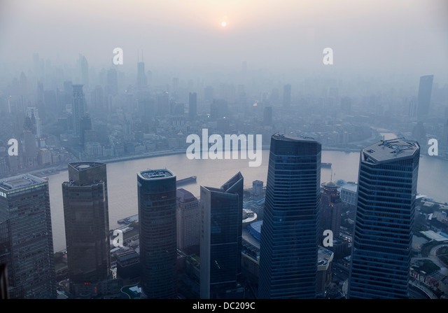 High angle view of misty cityscape, Shanghai, China - Stock-Bilder