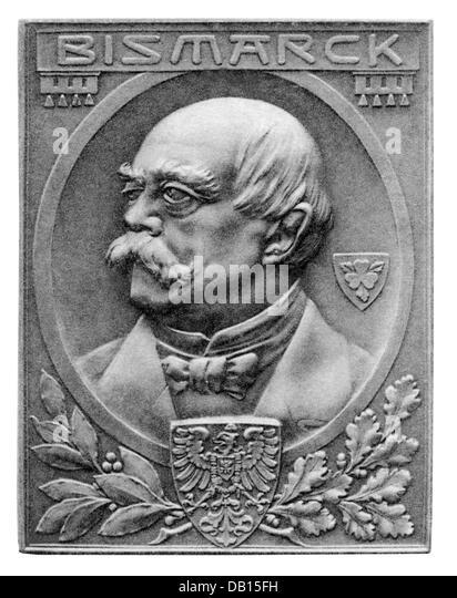 Bismarck, Otto von, 1.4.1815 - 30.7.1898, Reich Chancellor 16.4.1871 - 20.3.1890, portrait, badge, bronze, 50,5 - Stock Image