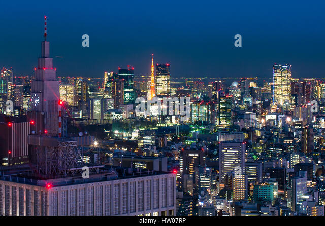 Tokyo skyline at sunset - Stock Image
