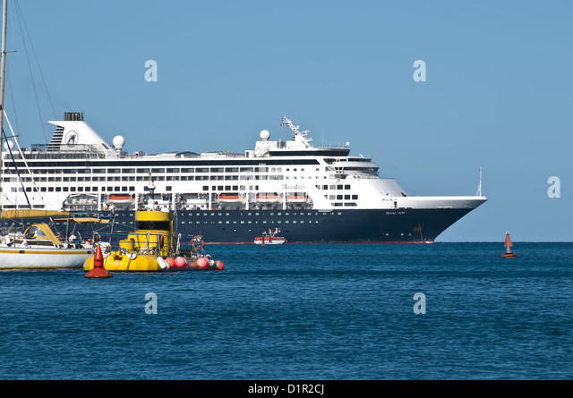 Holland America Maasdam, sailboat and yellow submarine, Saint Barthelemy - Stock Image
