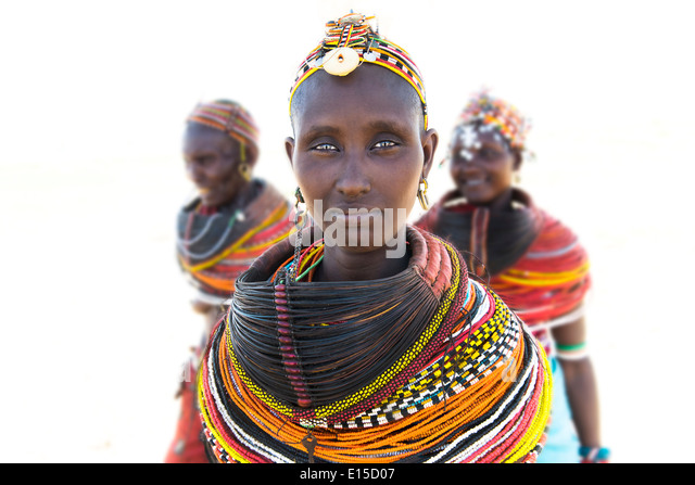 Beautiful Rendille women in their village in northern Kenya. - Stock Image