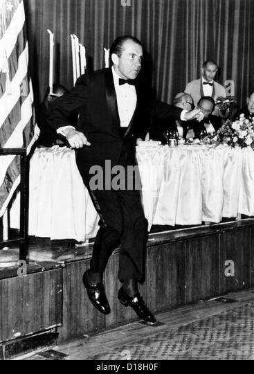 President Richard Nixon leaps from the dais at a memorial dinner 10/14/1969 in honor of the late President Dwight - Stock Image
