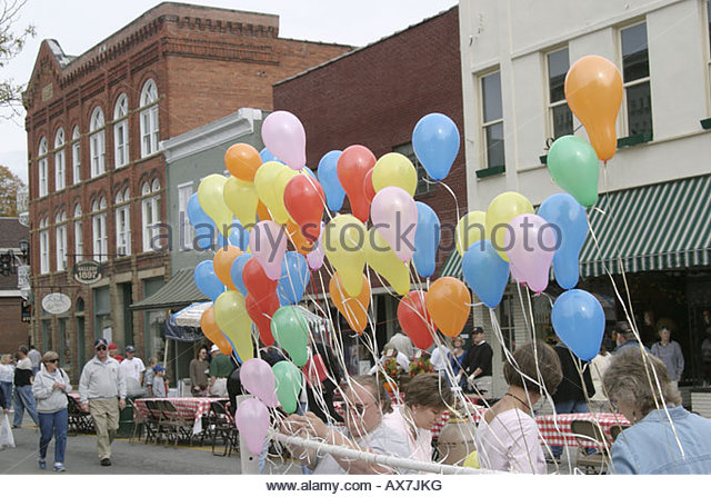 West Virginia Lewisburg Taste of Our Towns colorful balloons - Stock Image