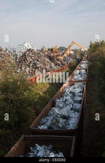 Scrap metal recycling loading train wagons with processed metals, EMR company, Swindon, England, UK - Stock Image