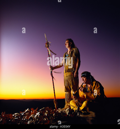 Shawnee Native American Indians In Traditional Dress At High Knob Natural Area sunset, Sullivan County, Pennsylvania, - Stock Image