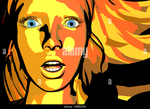 Illustration of a woman, close up - Stock Image