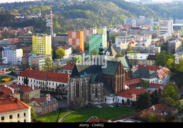 Aerial view of the Abbey of Saint Thomas, Brno, Moravia, Czech Republic - Stock-Bilder