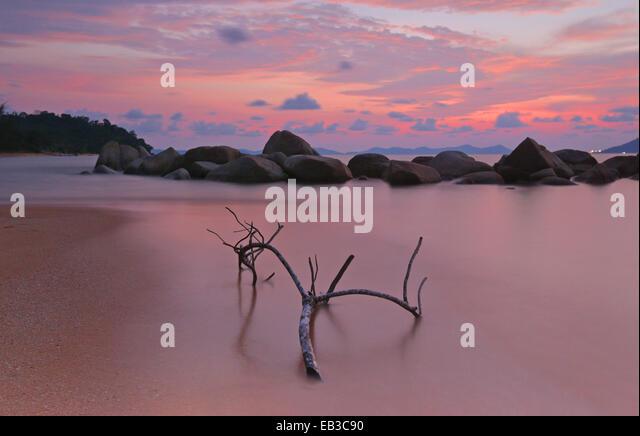Indonesia, Singkawang, Kura Kura beach at sunset - Stock Image