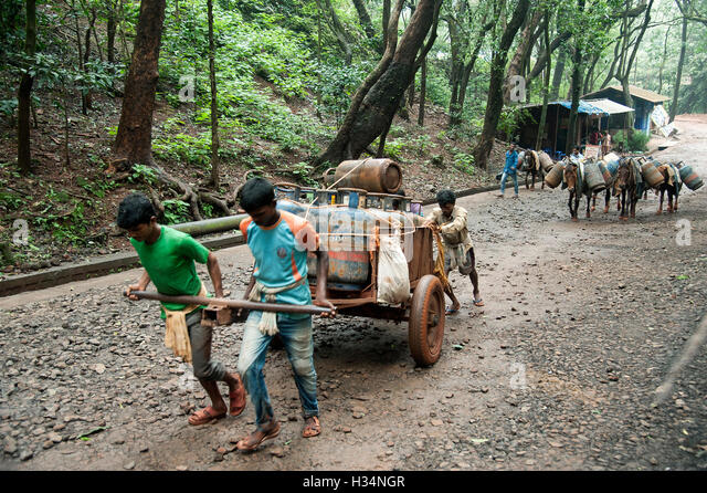 The image of Cart puller with luggage in Matheran, Maharashtra, India - Stock Image