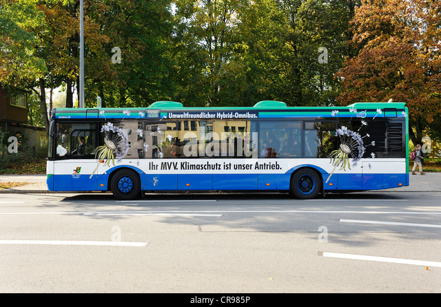 Environmentally-friendly hybrid bus, Munich, Bavaria, Germany, Europe - Stock Image