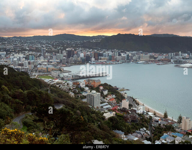 Wellington City, New Zealand on a stormy evening - Stock Image