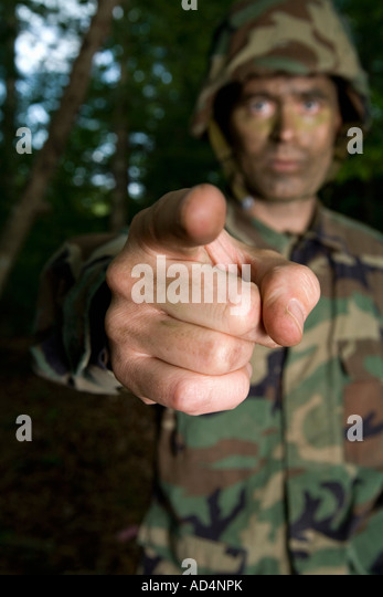 Soldier pointing - Stock Image