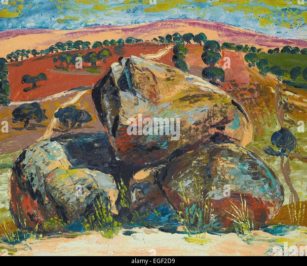 Benjamín Palencia  Landscape with Rocks - Stock Image