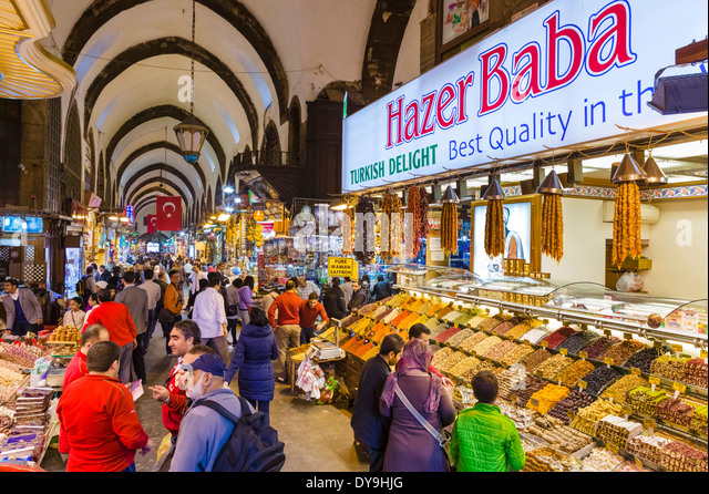 The Spice Bazaar (Misir Carsisi or Egyptian Bazaar), Eminonu district, Istanbul,Turkey - Stock Image