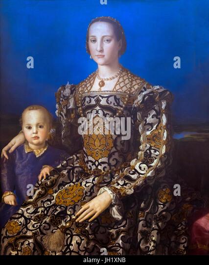Portrait of Grand Duchess Eleonora of Toledo and Her Son Giovanni, by Agnolo Bronzino, circa 1545, Uffizi Gallery, - Stock Image