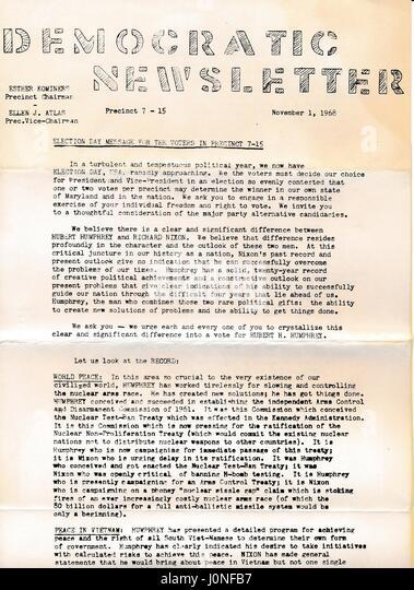 A Vietnam War era leaflet titled 'Democratic Newsletter' advocating that readers vote for Hubert Humphrey - Stock Image