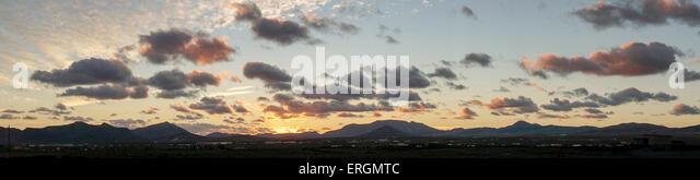 Sunset at Costa Calma, Panorama, Fuerteventura, Canary Islands, spain - Stock Image