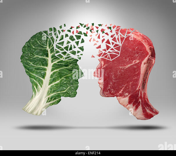 Food information and eating health balance exchange concept related to choices with a human head shape green vegetable - Stock Image