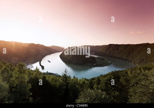 Austria, View of danube river at dusk - Stock Image