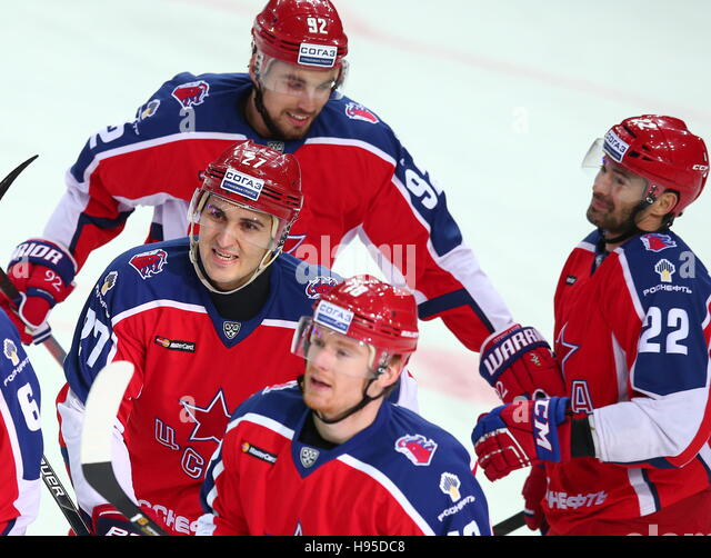 Moscow, Russia. 19th Nov, 2016. CSKA Moscow's Kirill Petrov, Alexander Popov (L-R middle), Dmitry Kugryshev - Stock Image