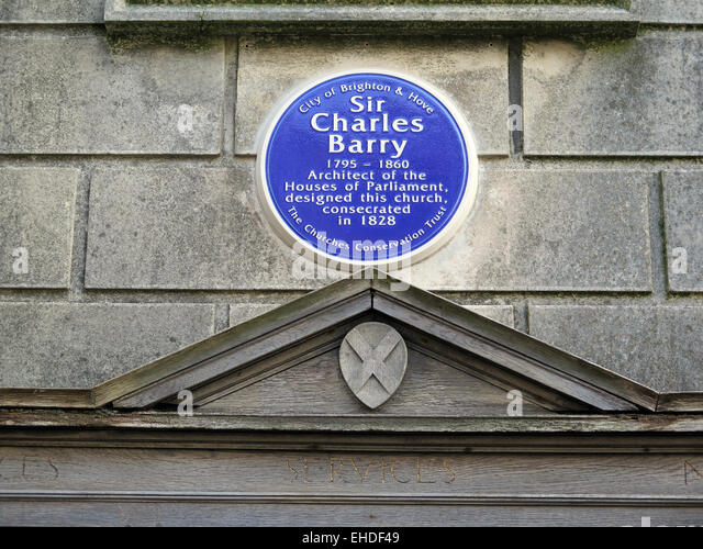 A Blue Plaque on the wall of St. Andrews Church in Waterloo Street, Brighton to commemorate the architect Sir Charles - Stock Image