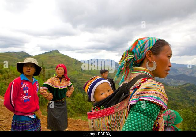 Vietnam, Lao Cai province. Flower Hmong minority - Stock-Bilder