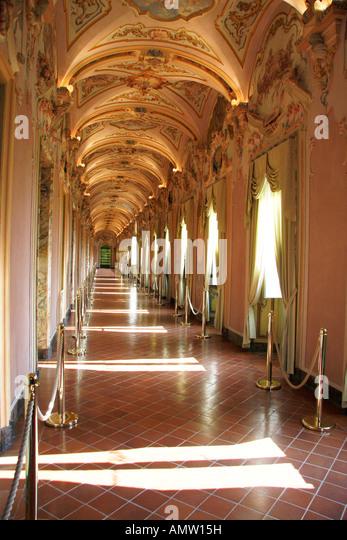 Splendid rococo gallery Pinacoteca  Civiva e Galleria Di Arte Contemporanea,in the  Museum,Palazzo Pianetti.Jesi - Stock Image
