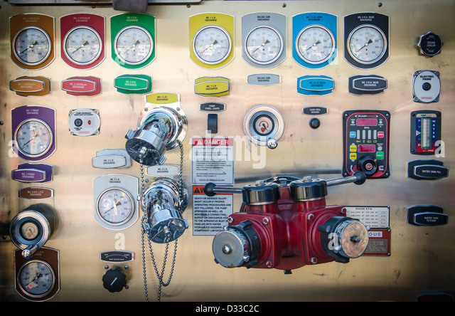 Control Panel of a Fire Truck at Ellicott City Volunteer Fire Department, Maryland - Stock Image