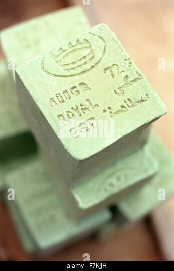Bars of handmade soap for sale at an outdoor market in Tozeur, Tunisia. North Africa. - Stock Image