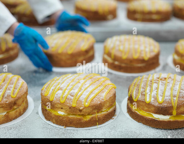 Male worker handling cakes in cake factory - Stock Image